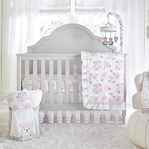 - Wendy Bellissimo 4pc Nursery Bedding Baby Crib Bedding Set - Floral Crib Bedding from The Savannah Collection in Grey and Pink