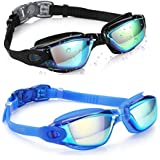 Aegend Swim Goggles, Pack of 2 Swimming Goggles Crystal Clear No Leaking Anti Fog UV Protection Triathlon Swim Goggles with Free Protection Case for Adult Men Women Youth Kids Child