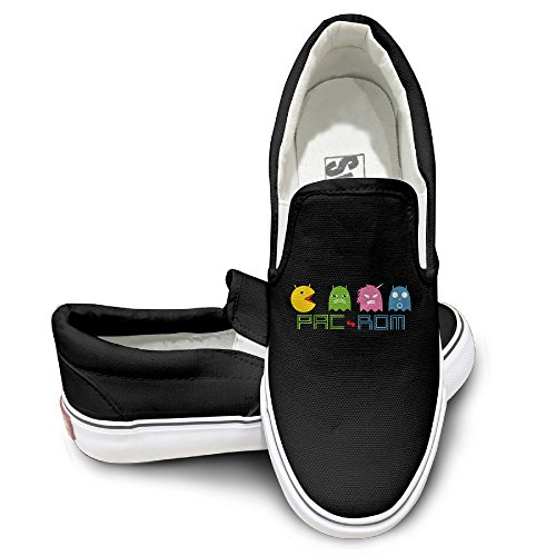 Ms Pac Man Costume (EWIED Unisex Classic Pacman Logo 2 Slip-On Shoes Black Size39)