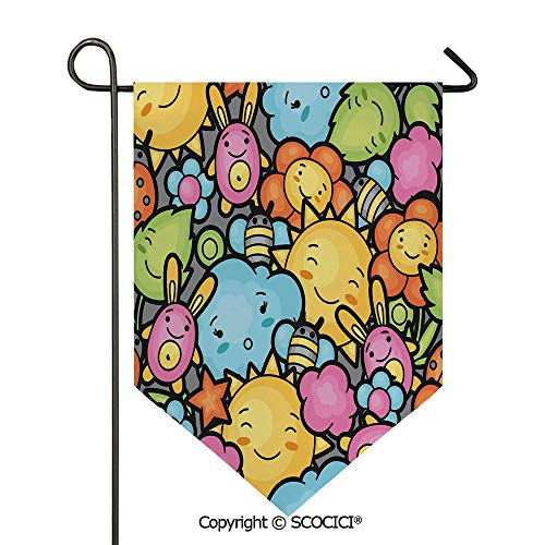 Easy Clean Durable Charming 28x40in Garden Flag Cute Cartoon Characters Happy Sun Bunnies Trees Bugs Clouds Bees Kawai Art Design Decorative,Multicolor Double Sided Printed,Flag pole NOT included