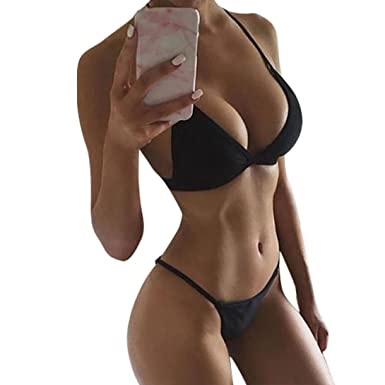 0dbecbdaf3 Women Bikini Sunday 1Set Girls Bandage Brazilian Bathing Swimsuit Vintage  Push-up Padded Bra Thong Bikini Set Bathing Suit Swinwear Beachwear   Amazon.co.uk  ...