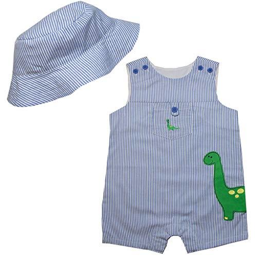 (Good Lad Newborn/Infant Boys Appliqued Seersucker Shortall with Matching Seersucker Hat (12M,)