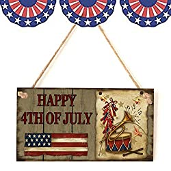 FILOL 4th of July Wooden Sign Plaque Door Wall Hanging Decorations,Independence Day Party Decorations,Faith Family Friends Freedom (B)