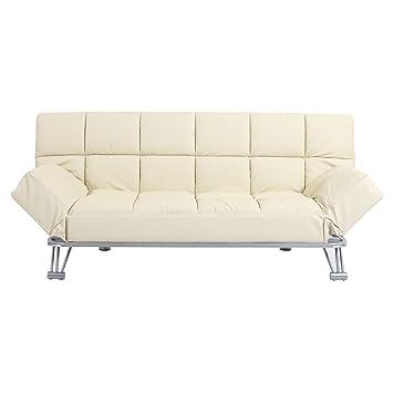 Miliboo - Sofá cama de piel 3 plazas color beige MANHATTAN ...