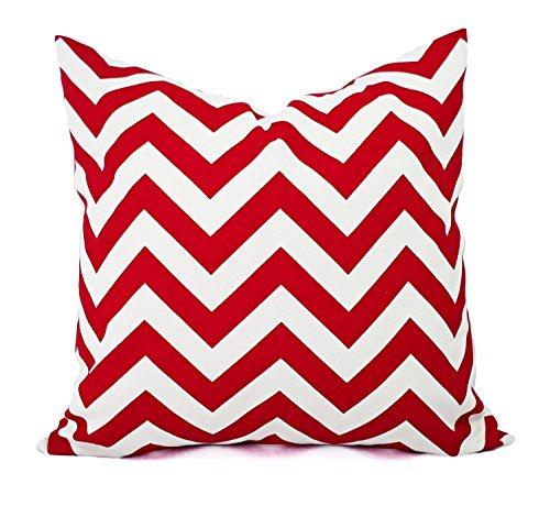 Red and White chevron Throw Pillow Cover, Cushion, Accent Pillow, Euro Sham, Cushion Cover - 26