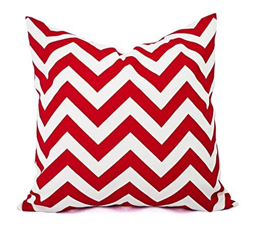Red and White chevron Throw Pillow Cover, Cushion, Accent Pillow, Euro Sham, Cushion Cover - 26