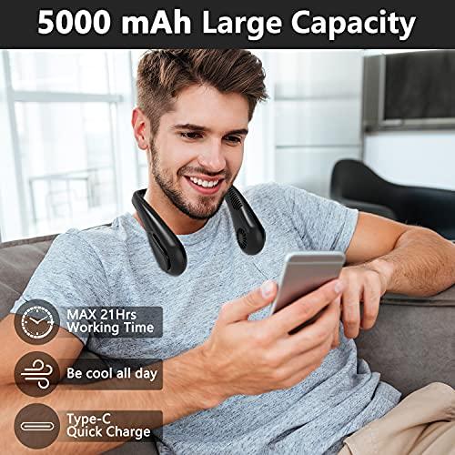 HandFan 5000mAh Neck Fan Bladeless Portable Rechargeable Lazy Wearable Fan,USB HandsFree Fan, Mute 4-Speed 21 hrs Working Time For Outdoor Travel (Black)