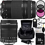 MUST HAVE Dual Lens Kit for Canon Rebel T1i, T2, T3i, T4i, T5i, T6i, T6s, SL1, 60D, 70D, 7D, 7D Mark II 760D 750D Digital SLR Cameras. Includes Canon EF-S 18-135mm f/3.5-5.6 IS STM Lens + Canon EF 75-300mm f/4-5.6 III Lens + 32GB Memory Card + MORE