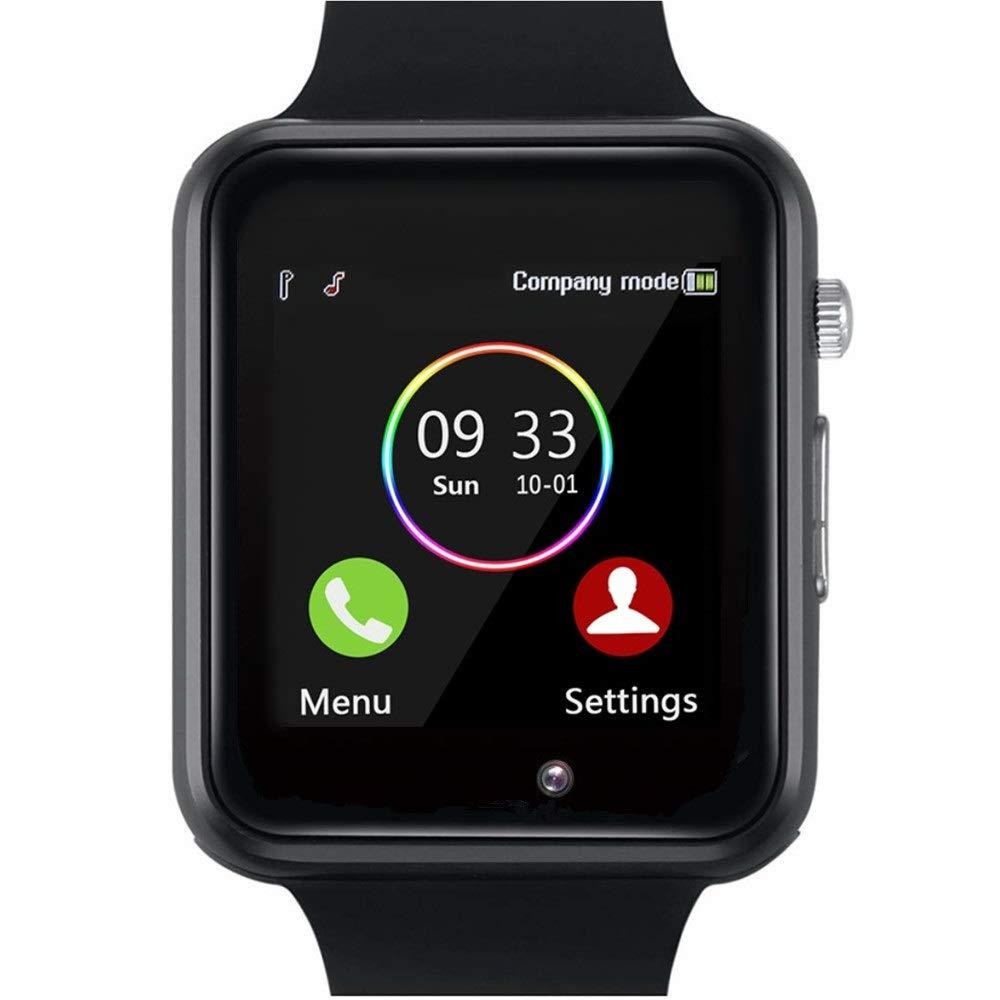 YIIXIIYN Smart Watch Bluetooth Smart Watch Sport Fitness Tracker Wrist Watch Touchscreen with Camera SIM SD Card Slot Watch Compatible iPhone iOS Samsung LG Android Women Men Kids (Black) by YIIXIIYN
