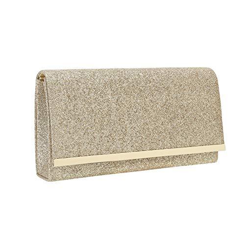 Evening Clutch Gold - Charming Tailor Evening Handbag Glitzy Metallic Glitter Clutch Bag with Metal Trim Flap (Gold)