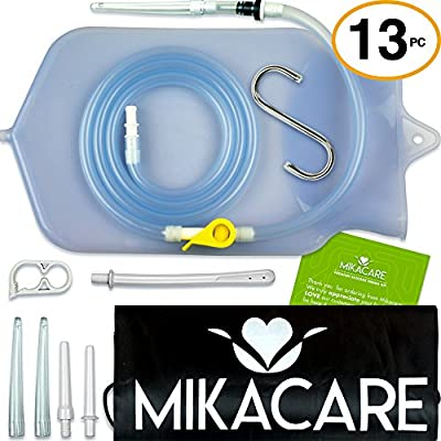Enema Bag Kit by MikaCare | For Detox - Coffee & Water Colon Cleanse - Douche - 6 Tips 2 Quart FDA Approved Non-Toxic BPA & Phthalates Free Medical Grade Silicone - 6 ft Long Hose