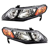 Headlight Units with Amber Park Lens Pair Set Replacements for Honda Civic Sedan 33151SNAA02 33101SNAA02