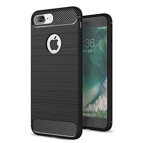 iPhone 7 Plus/iPhone 8 Plus Case,Thin Lightweight Carbon Fiber Cell Phone Cover Shockproof Dustproof Shock Absorbing Bumper Anti-Scratch Anti-Slip Case Slim Flexible TPU Armor Shell,Black (Carbon Fiber Phone Cover)