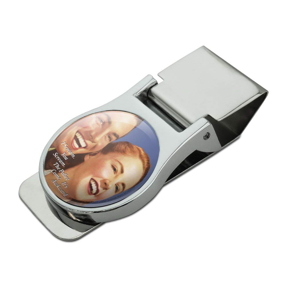 I You Scream Police Come Its Awkward Funny Humor Satin Chrome Plated Metal Money Clip
