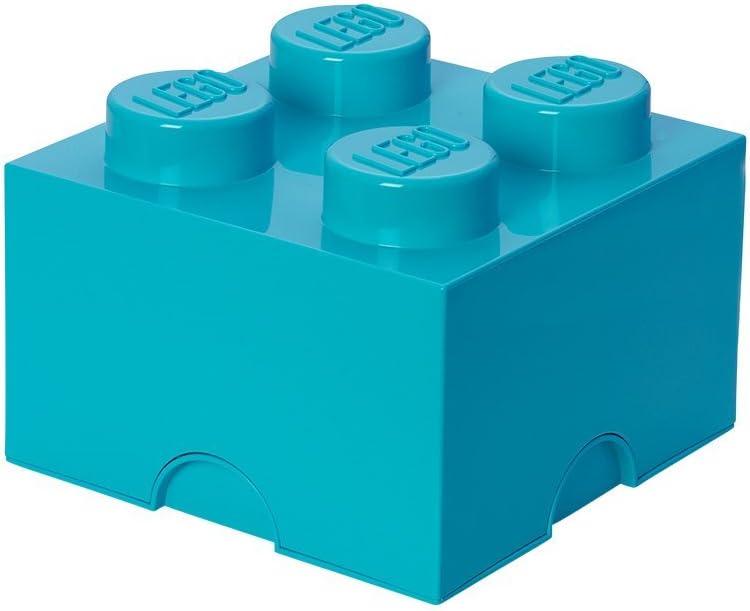 LEGO Brick 4 Knobs Stackable Storage Box, Medium Azur, 5.7 Litre