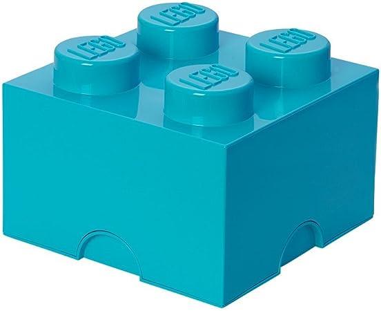 Room Copenhagen 40031743 Ladrillo de Almacenamiento de 4 espigas de Lego, Caja de almacenaje apilable, 5,7 l, Turquesa, Medium Azur: Amazon.es: Juguetes y juegos