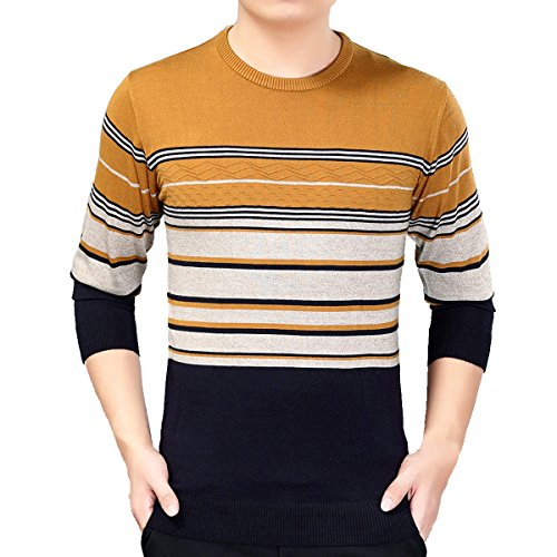 New Jiuhila Men Basic Wool Cashmere Knitted Sweater Long Sleeve Striped Jumper Pullover Tops for cheap