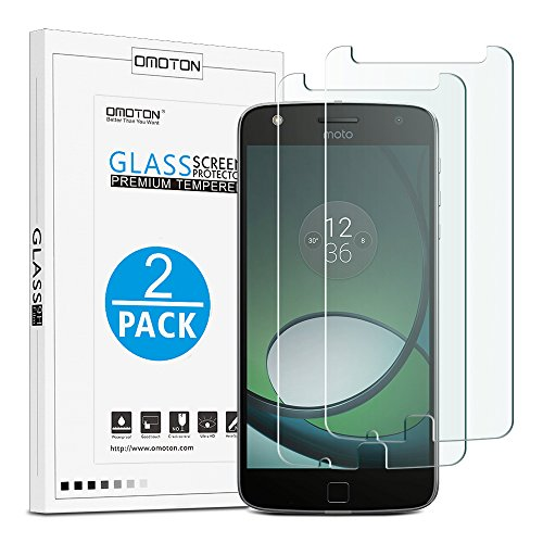 OMOTON Moto Z Play Droid Screen Protector [2 PACK]- [9H Hardness] [Crystal Clear] [Bubble Free] Tempered Glass Screen Protector for Motorola Moto Z Play Droid 5.5 Inch(2016)