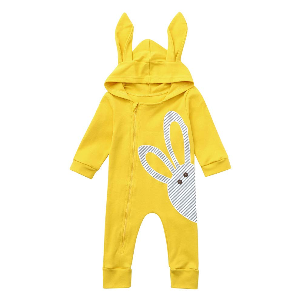 NUWFOR Infant Baby Long Sleeve Cartoon Rabbit Print Hoodie Romper Jumpsuit Clothes (Yellow,12-18Months