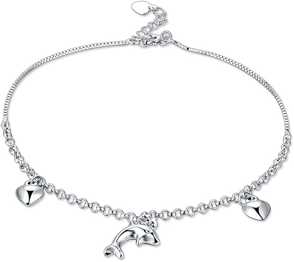 Dwcly Charm Lucky Dolphin Anklet Bracelet Silver Color Hand Chain Beach Bare Foot Jewelry