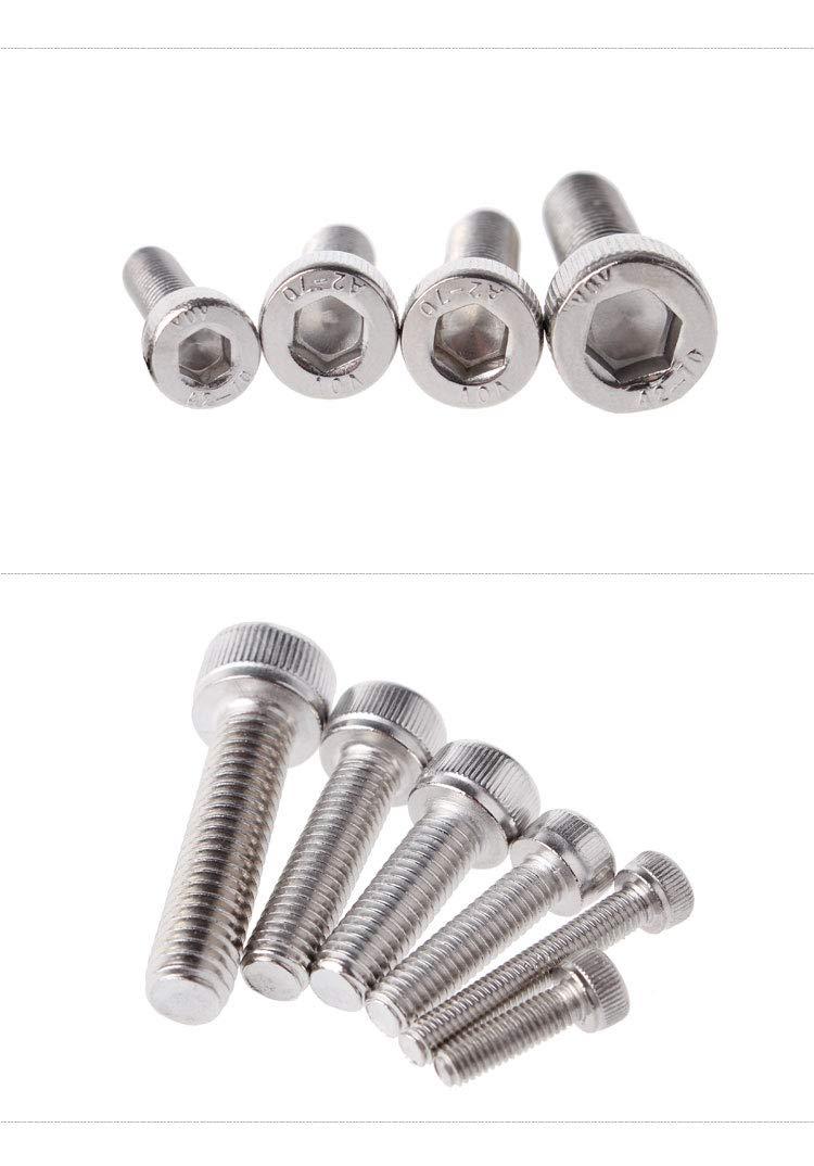 Ochoos 1000pcs M1.6 DIN912/7984 ISO4762 Hexagon Socket Head Cap Screws Hex Socket Screw Metric Screw 304 Stainless Steel Factory Outlet - (Length: M1.6-12mm)