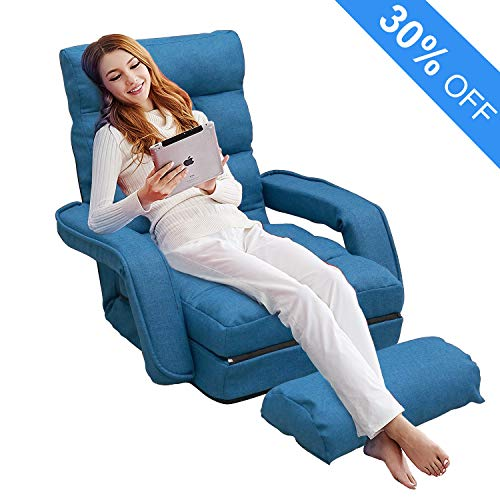Folding Lazy Sofa Floor Chair, Aprox Sofa Lounger Bed Padded Gaming Chair with Armrests and Pillow for Living Room Games & Reading (Blue)