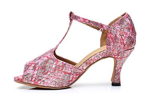 Honeystore Neuheiten Frauens Vergoldend Satin Heels Absatzschuhe Moderne Latein-Schuhe mit T-Riemen Tanzschuhe LD0188 Rosa