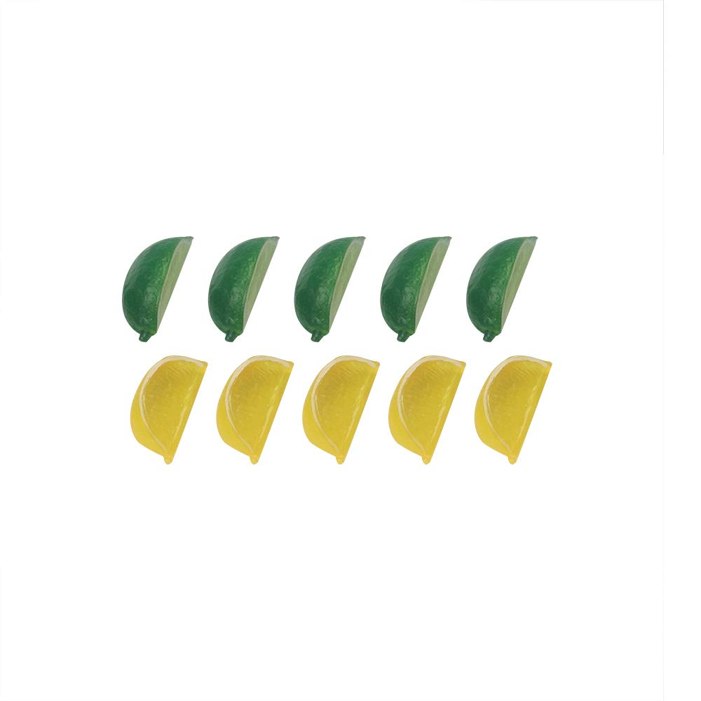 LEAFBABY 8Pcs Fake Lemon Artificial Fruit Lemon Block Wedge Slice Simulation Lifelike Fake for Home Party Kitchen Decoration Teaching (Green Yellow Each Color 4Pcs)