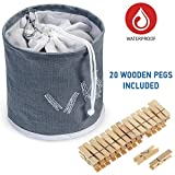 Tatkraft PEGGY Clothespin Bag Hanging Waterproof+ 20 Pins Starter Kit Included, Drawstring Closure