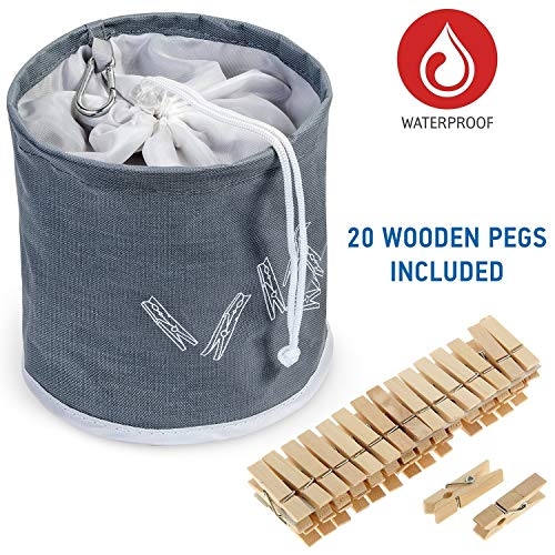 Tatkraft PEGGY Clothespin Bag Hanging Waterproof+ 20 Pins Starter Kit Included, Drawstring Closure by Tatkraft