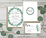 Wedding Invitations Set, Rustic Wedding Invites, Eucalyptus Wedding Invitation Set of 10, Invitation plus envelope only matching items available