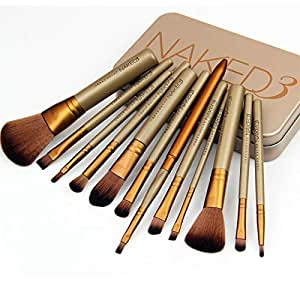 12 pcs Naked 3 Makeup Goat Hair Brushes Set Kit