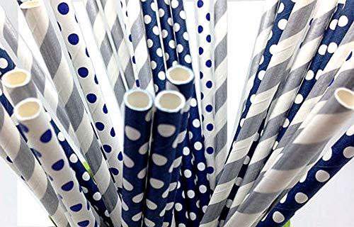 125 Navy and silver Paper Straws - Party DIY, Mason Jars, Baby Shower, Chevron and Polka Dots