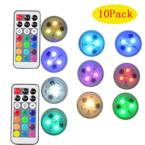Mini RGB Submersible LED Light IP67 Waterproof Battery Operated Underwater Night Lamp LED Tea Lights with Remote Control Party Events Home Vase Swimming Pool Pond Decoration Lighting -10PACK