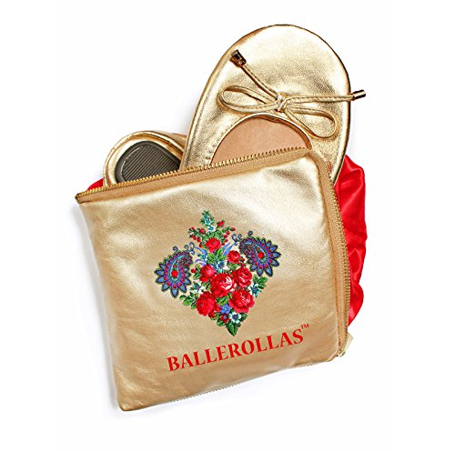 BALLEROLLAS Bailarinas plegable–Pelota rollas––Cambio 100% Piel Guantes, Oro Talla 36