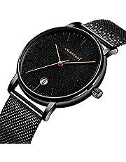 Men's Watch Simple Business Fashion Ultra-Thin Waterproof Dress Mesh Band Analog Quartz Wristwatch Minimalist Dark Blue Gray Unisex