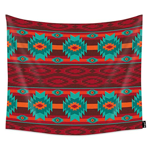 Mugod Navajo Pattern Tapestry Wall Hanging Abstract Ethnic Colorful Geometric Traditional Red Decorative Tapestry Home Art Polyester for Men/Women/Kids Bedroom 90x60 Inch