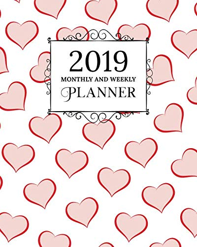 2019 Monthly And Weekly Planner: Calendar, Organizer, Goals and Wish List | Weekly Monday Start, January to December 2019 | Rose Gold Heart Pattern -