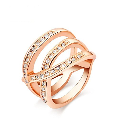 Winter.Z Noble and Elegant Ladies Jewelry Popular Explosion Models Austria Crystal Rose Gold Criss Cross Ring Wedding