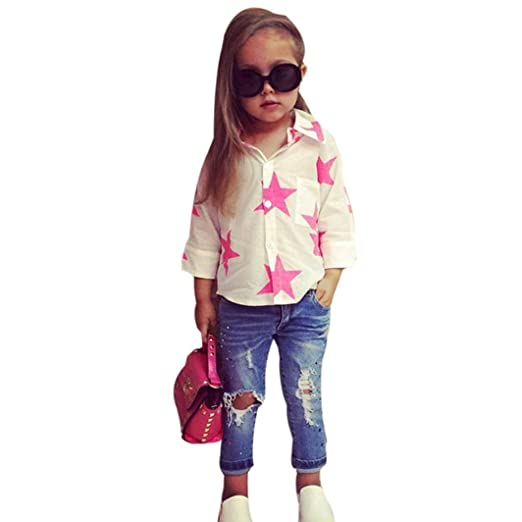 11edb19a0 Minisoya Fashion Toddler Kids Baby Girl Star T-Shirt Lapel Button Tops  Ripped Holes Jeans