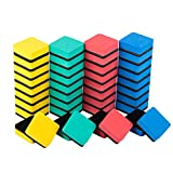 Folansy Cute Square Magnetic Chalkboard Whiteboard Dry Erasers Chalkboard Cleaner Wiper for Office Classroom Home(Yellow,Green,Red,Blue,40Pack)