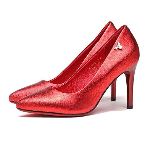 Donna Party Sposa Scarpe Moda Tacchi 8 Nightclub EU Red 3 35 Sexy Nero Alti UK Scarpe in Pelle Corte 8cm Lavoro da zrznSOxvg