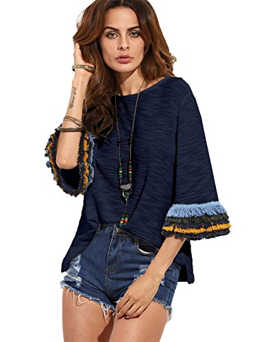 Milumia Women's 3/4 Sleeve Side Split Embroidered T-Shirt Blouse Tunic Tops Navy