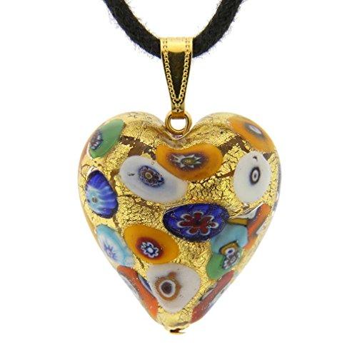 GlassOfVenice Murano Glass Heart Pendant - Klimt ()
