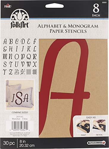 FolkArt 50321 Stencil Paper, Alphabet & Monogram Italic 8