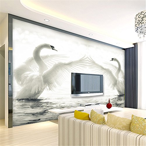 (Sproud Custom Modern 3D Wallpapers Swan Lake Romantic Minimalist Fashion Wedding Room Living Room Sofa Mural Decoration 430cmX300cm)