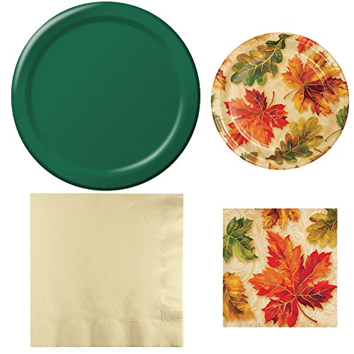 Creative Converting Autumn Elegance Paper Plate and Napkin (Elegance Green Plate)
