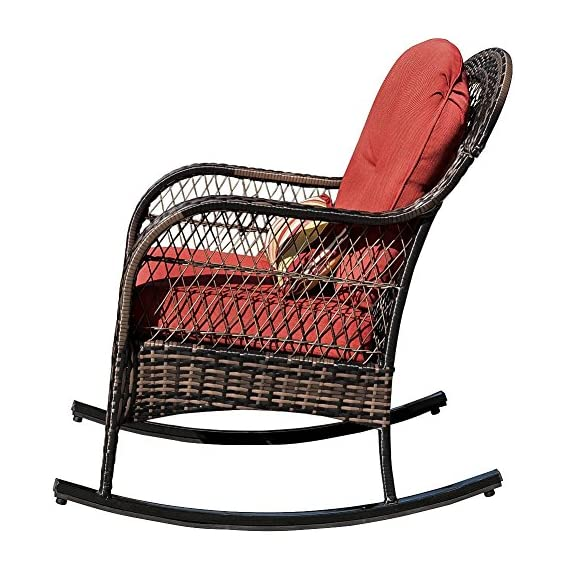 Sundale Outdoor Wicker Rocking Chair Rattan Outdoor Patio Yard Furniture All- Weather with Cushions (Red) - Tools provided, Fabric: stain-resistant, water-repellant and treated 280g Olefin cushions and Polyester pillows All-weather wicker - unlike natural wicker, all weather wicker is stain, water, crack and split resistant. Double flat wicker weave for added comfort and durability. - patio-furniture, patio-chairs, patio - 51QIh4q9BvL. SS570  -