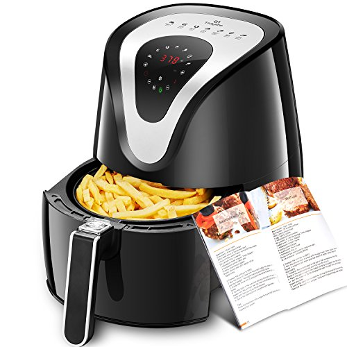 Tidylife Air Fryer, 4.2 Quart 8-in-1 Oil-less Touchscreen Airfryer For Healthy Fried Food, Auto Shut Off &Timer, 1500W, Dishwasher Safe, Black Fryer (Complimentary with a 32 Recipes Book)