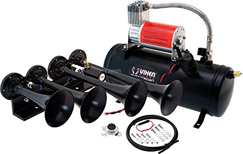 Vixen Horns Loud 149dB 4/Quad Black Trumpet Train Air Horn with 1.5 Gallon Tank and 150 PSI Compressor Full/Complete Onboard System/Kit VXO8530/4124B